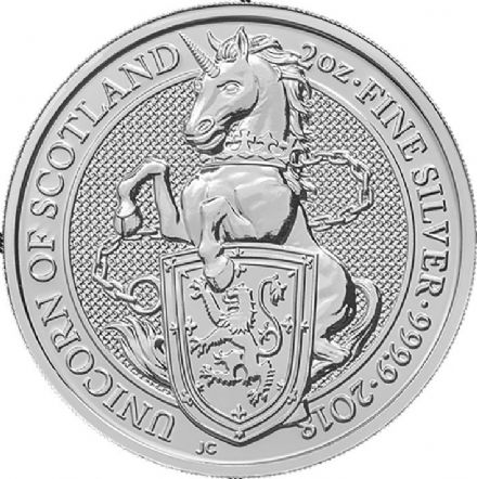 2018 The Queens Beast Silver 2oz Scottish Unicorn £5 coin